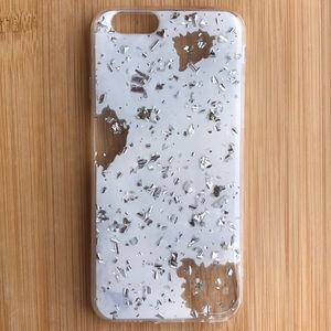 NEW Iphone 6/6s White Silver Sparkle Case